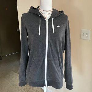 Nike gray logo zip up hoodie